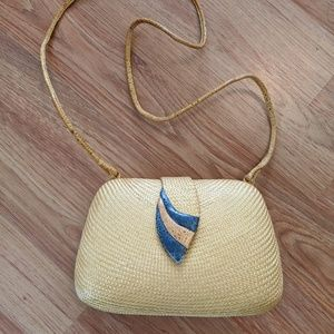 Other - VINTAGE yellow woven purse